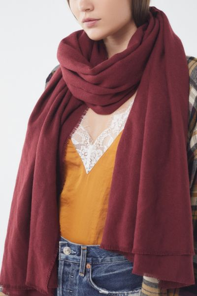 Brushed Woven Blanket Scarf - Maroon One Size at Urban Outfitters