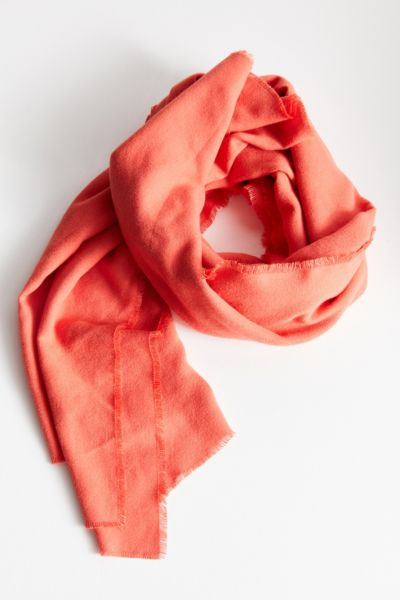 Brushed Woven Blanket Scarf - Coral One Size at Urban Outfitters