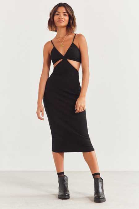 Silence + Noise Ribbed Cutout Midi Dress