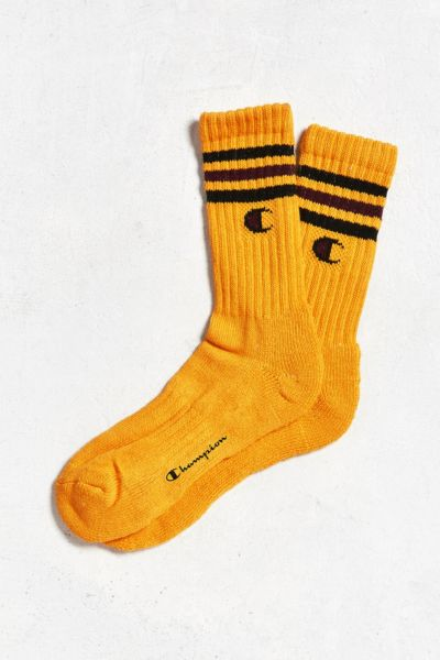 Champion Logo Crew Sock - Gold One Size at Urban Outfitters