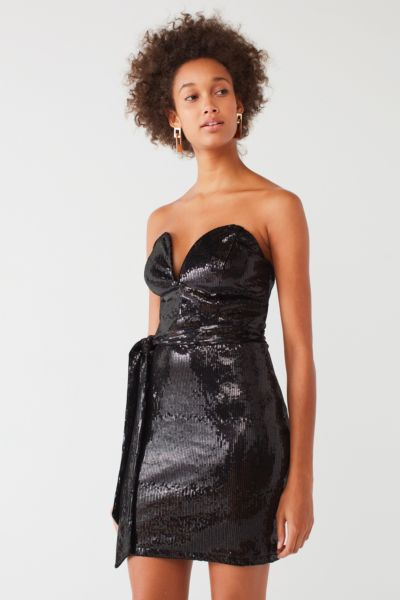 Oh My Love Aubervilliers Strapless Sequin Dress - Black XS at Urban Outfitters