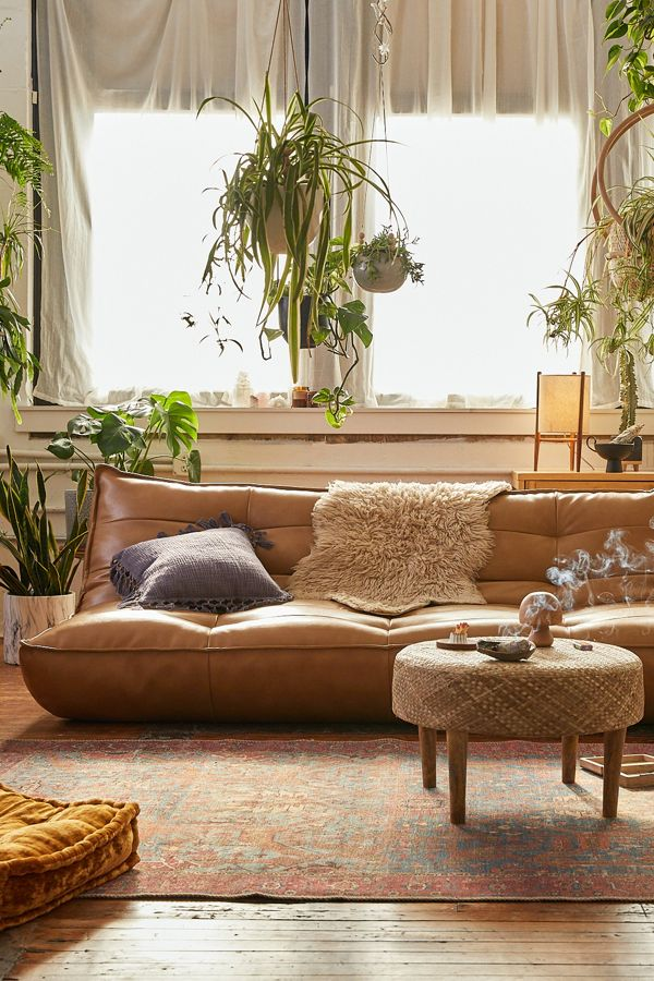 Greta Recycled Leather Xl Sleeper Sofa Urban Outfitters