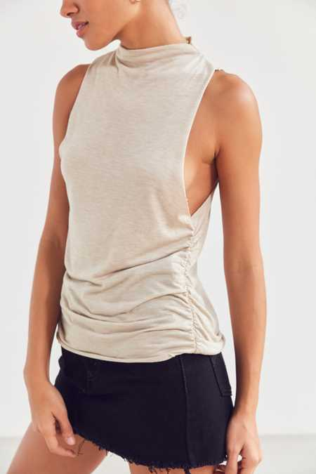 Project Social T Mock Neck Ruched Tank Top