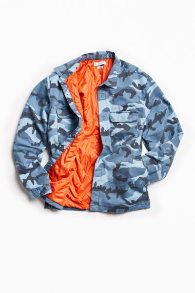 UO Quilted Camo Over Shirt - Blue XS at Urban Outfitters