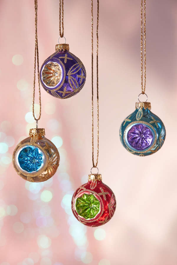 Assorted Vintage Look Ball Christmas Ornament  Set Of 9  Urban
