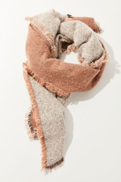 Cozy Intarsia Blanket Scarf - Neutral One Size at Urban Outfitters