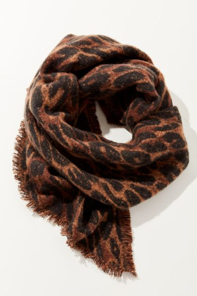 Cozy Intarsia Blanket Scarf - Brown Multi One Size at Urban Outfitters