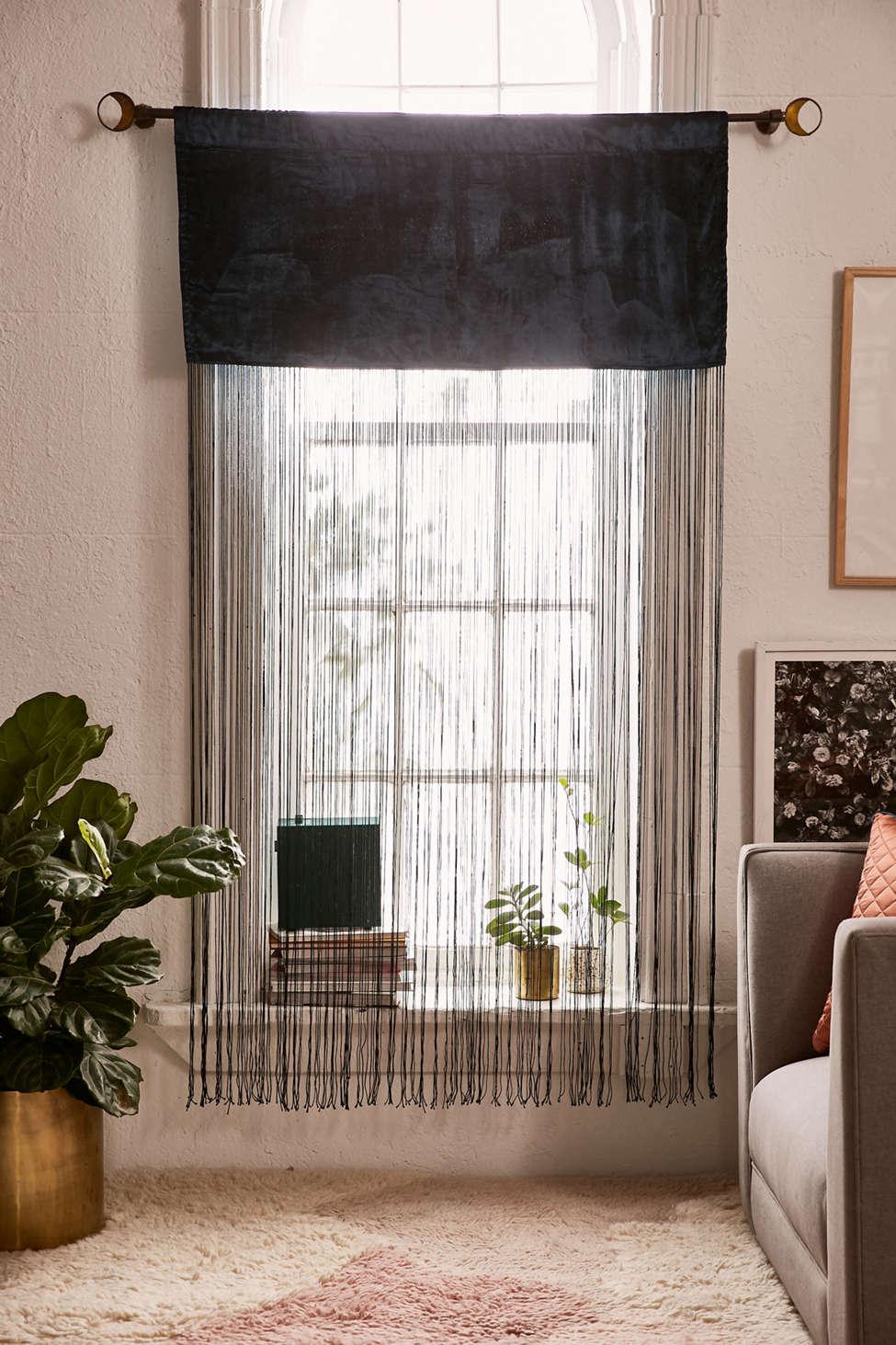 Slide View: 1: Arianna Velvet Fringe Window Panel