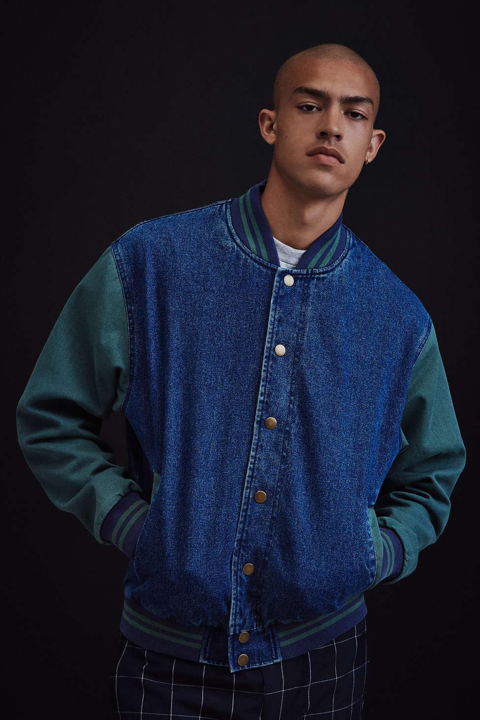 Slide View: 2: BDG Colorblocked Denim Varsity Jacket