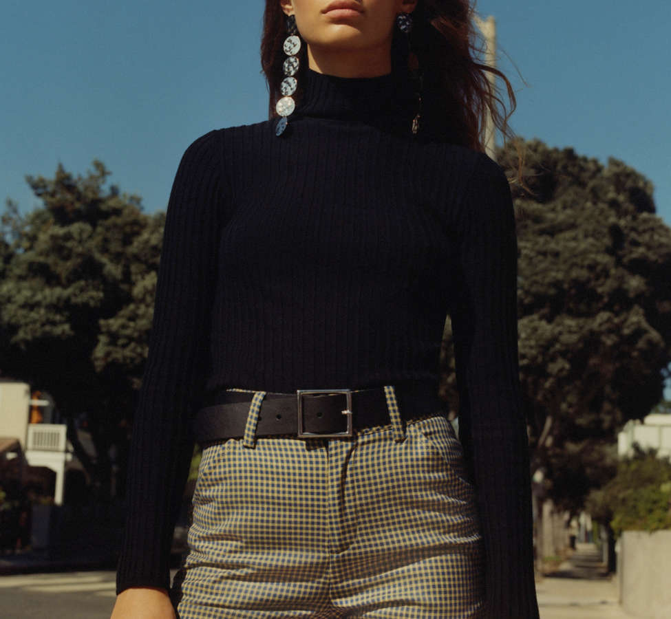 Slide View: 1: Silence + Noise Macy Ribbed Knit Turtleneck Sweater