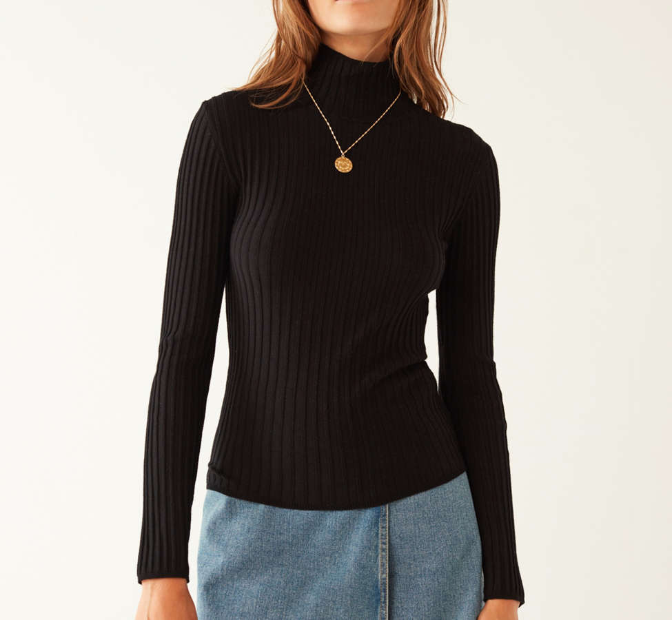 Slide View: 5: Silence + Noise Macy Ribbed Knit Turtleneck Sweater