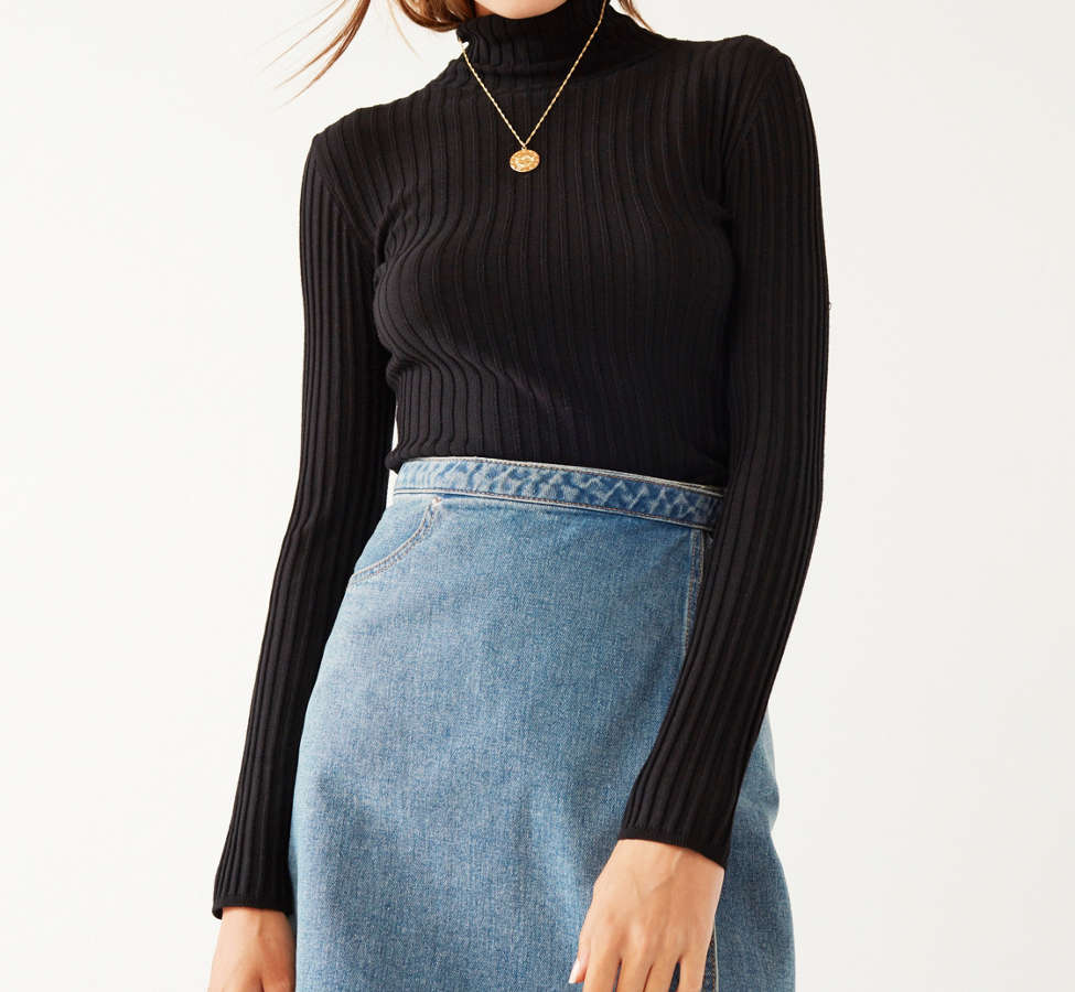 Slide View: 6: Silence + Noise Macy Ribbed Knit Turtleneck Sweater