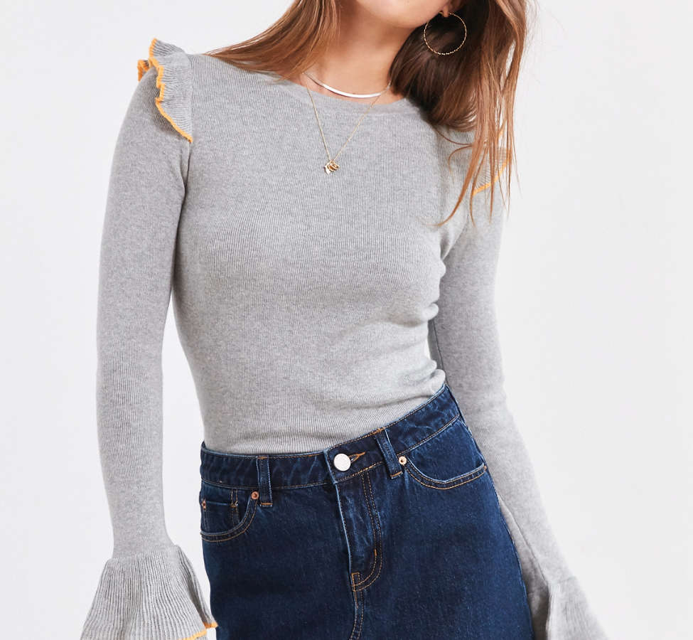 Slide View: 1: Cooperative Sofia Tulip-Sleeve Sweater