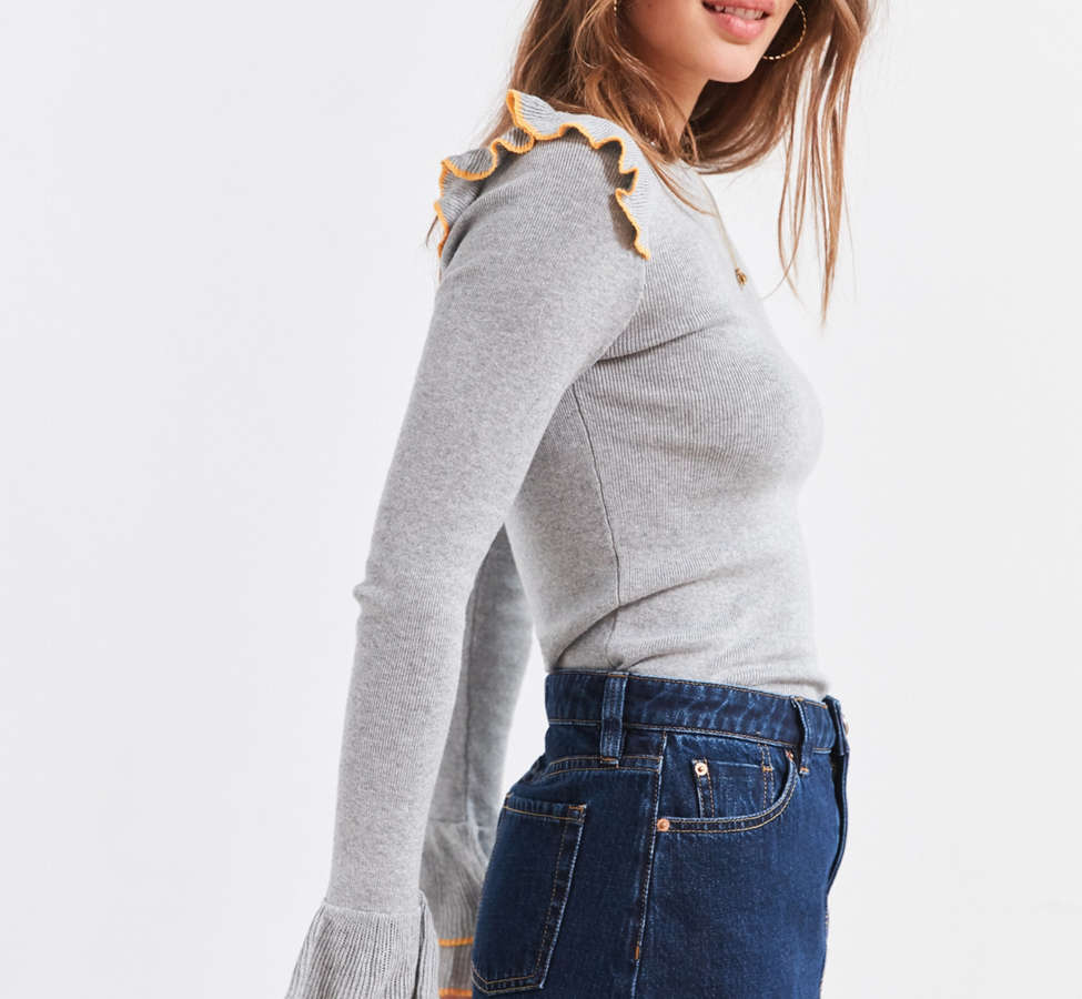 Slide View: 5: Cooperative Sofia Tulip-Sleeve Sweater