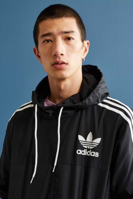 adidas CLFN Black + White Windbreaker Jacket