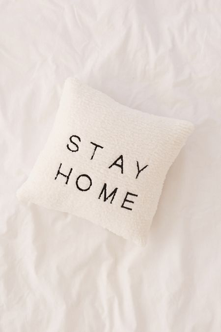 Stay Home Embroidered Amped Fleece Throw Pillow