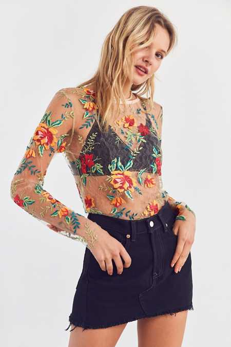 Kimchi Blue Floral Embroidered Mesh Long Sleeve Tee
