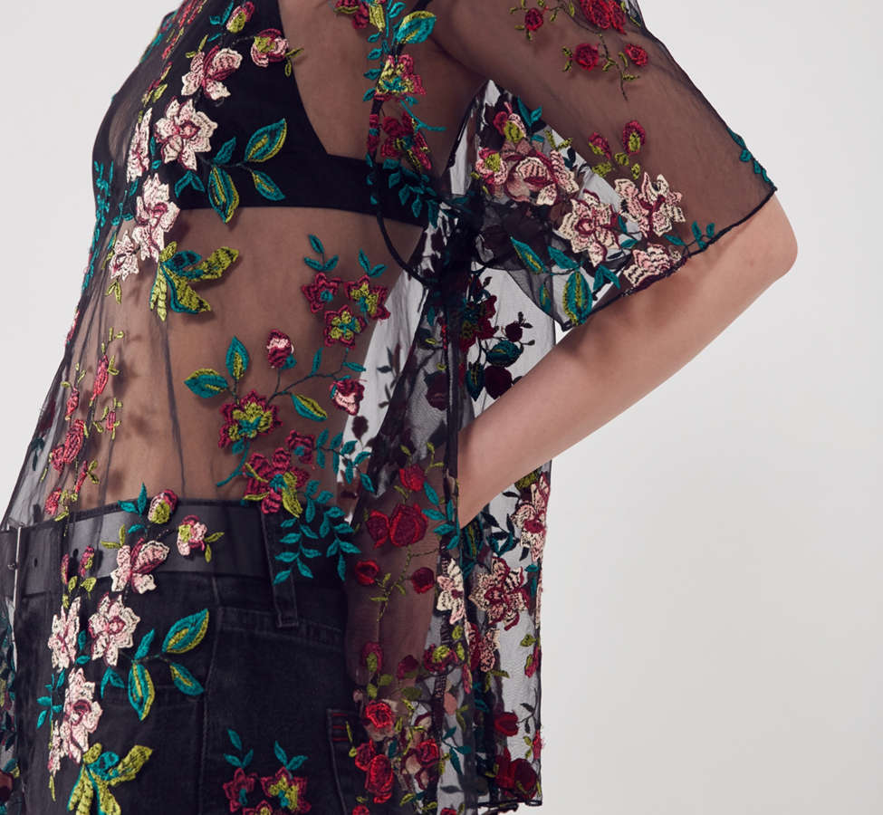 Slide View: 1: Kimchi Blue Alana Floral Embroidered Sheer Tee