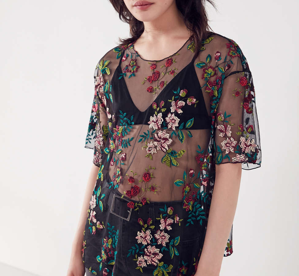 Slide View: 2: Kimchi Blue Alana Floral Embroidered Sheer Tee