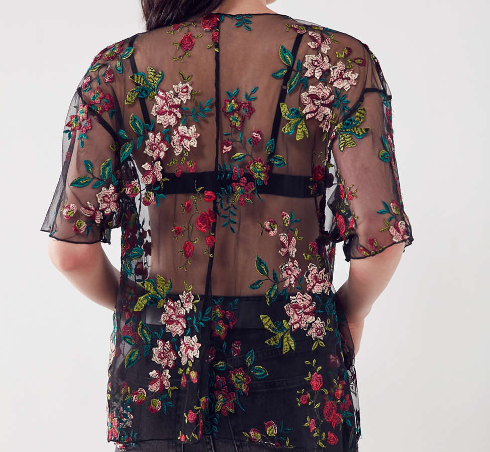 Slide View: 3: Kimchi Blue Alana Floral Embroidered Sheer Tee