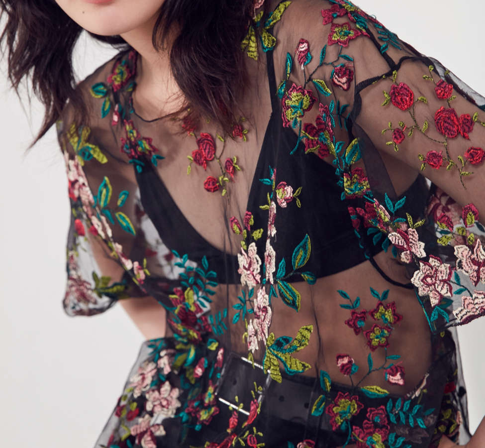 Slide View: 5: Kimchi Blue Alana Floral Embroidered Sheer Tee