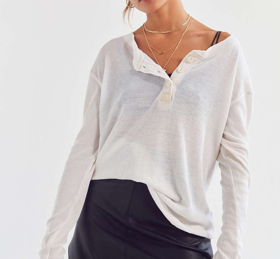 Slide View: 1: Truly Madly Deeply Waffle Knit Henley Top