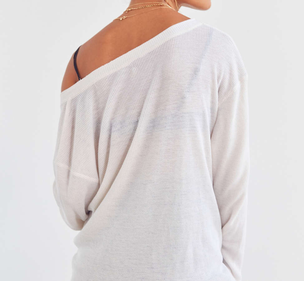 Slide View: 5: Truly Madly Deeply Waffle Knit Henley Top