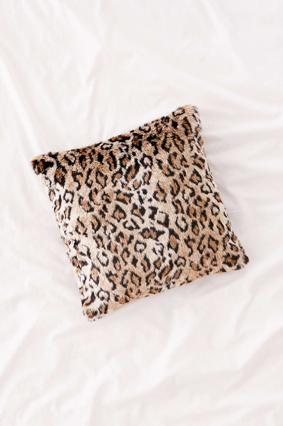 Slide View: 1: Leopard Print Faux Fur Pillow
