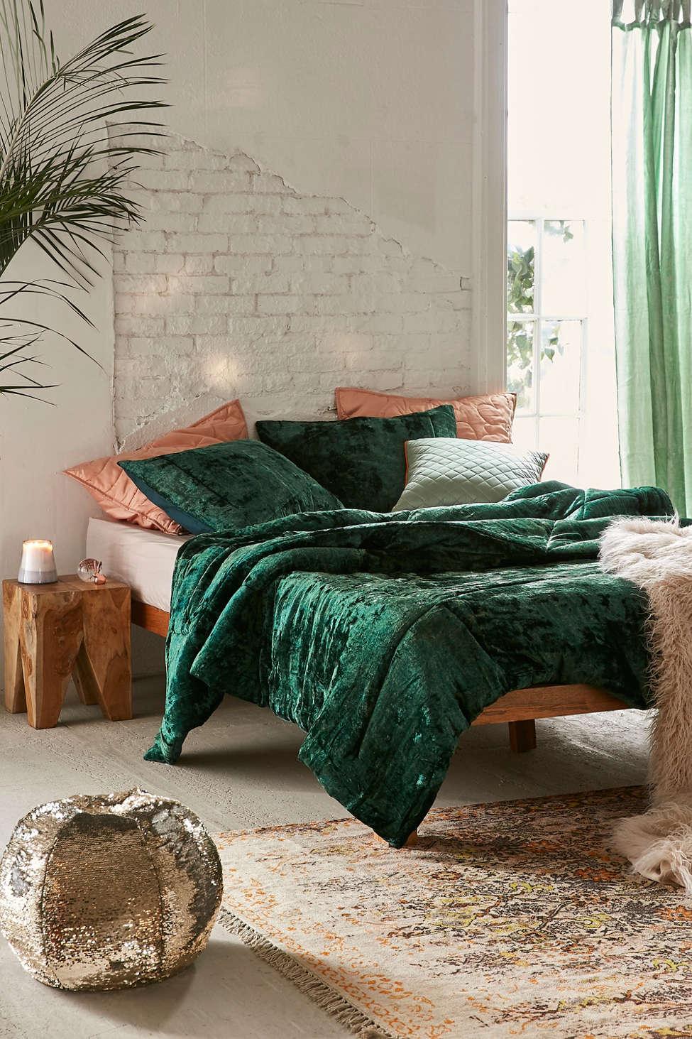 Slide View: 1: Skye Crushed Velvet Comforter
