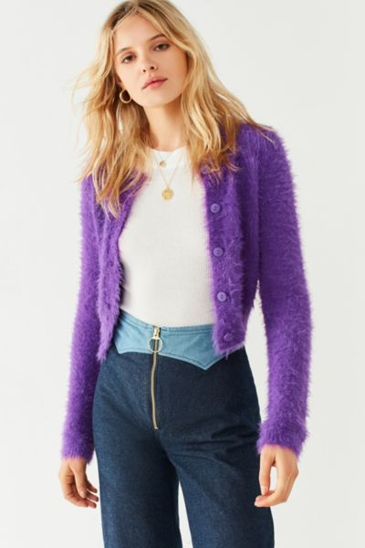 Kimchi Blue Courtney Fuzzy Cardigan - Purple XS at Urban Outfitters