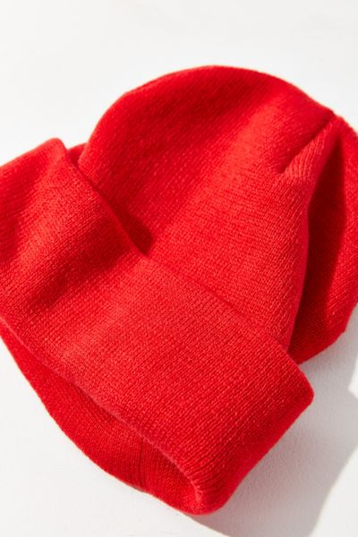 Double Knit Essential Beanie - Red One Size at Urban Outfitters