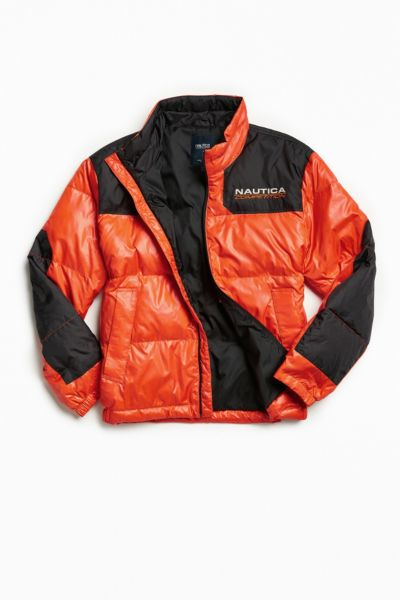 Nautica + UO Competition Puffer Jacket - Orange S at Urban Outfitters