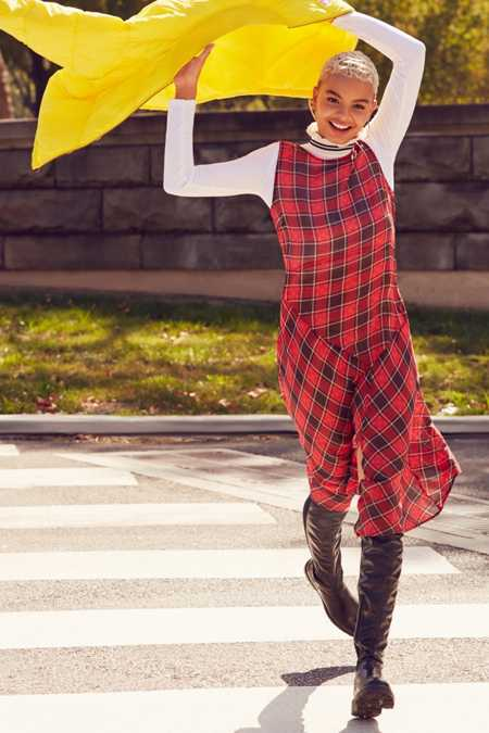 Cooperative Asymmetrical Plaid Midi Dress