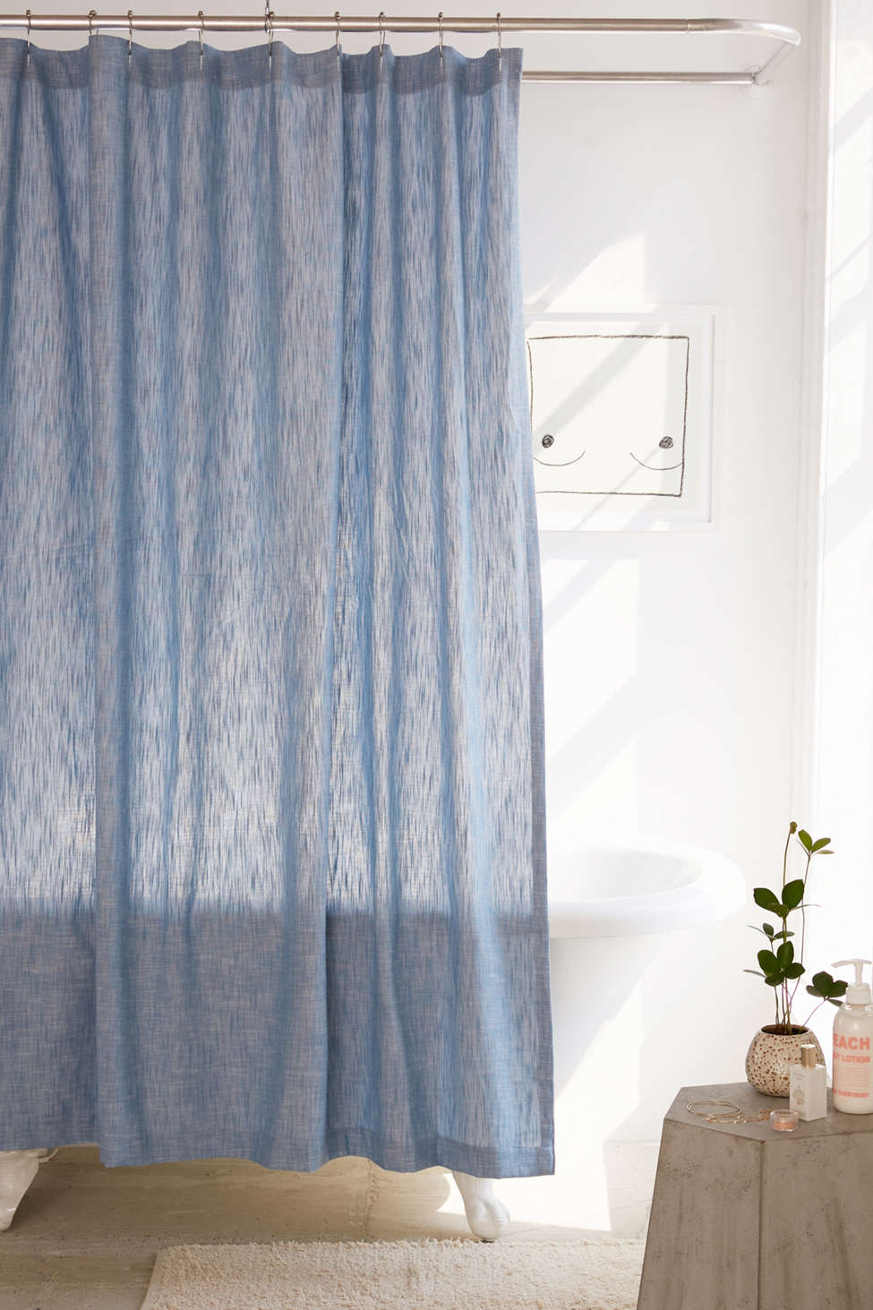 Slide View: 1: Calypso Chambray Shower Curtain
