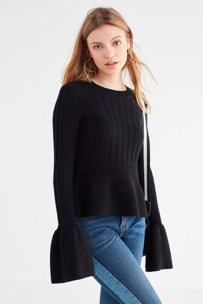 Kimchi Blue Isabell Peplum Sweater - Black XS at Urban Outfitters