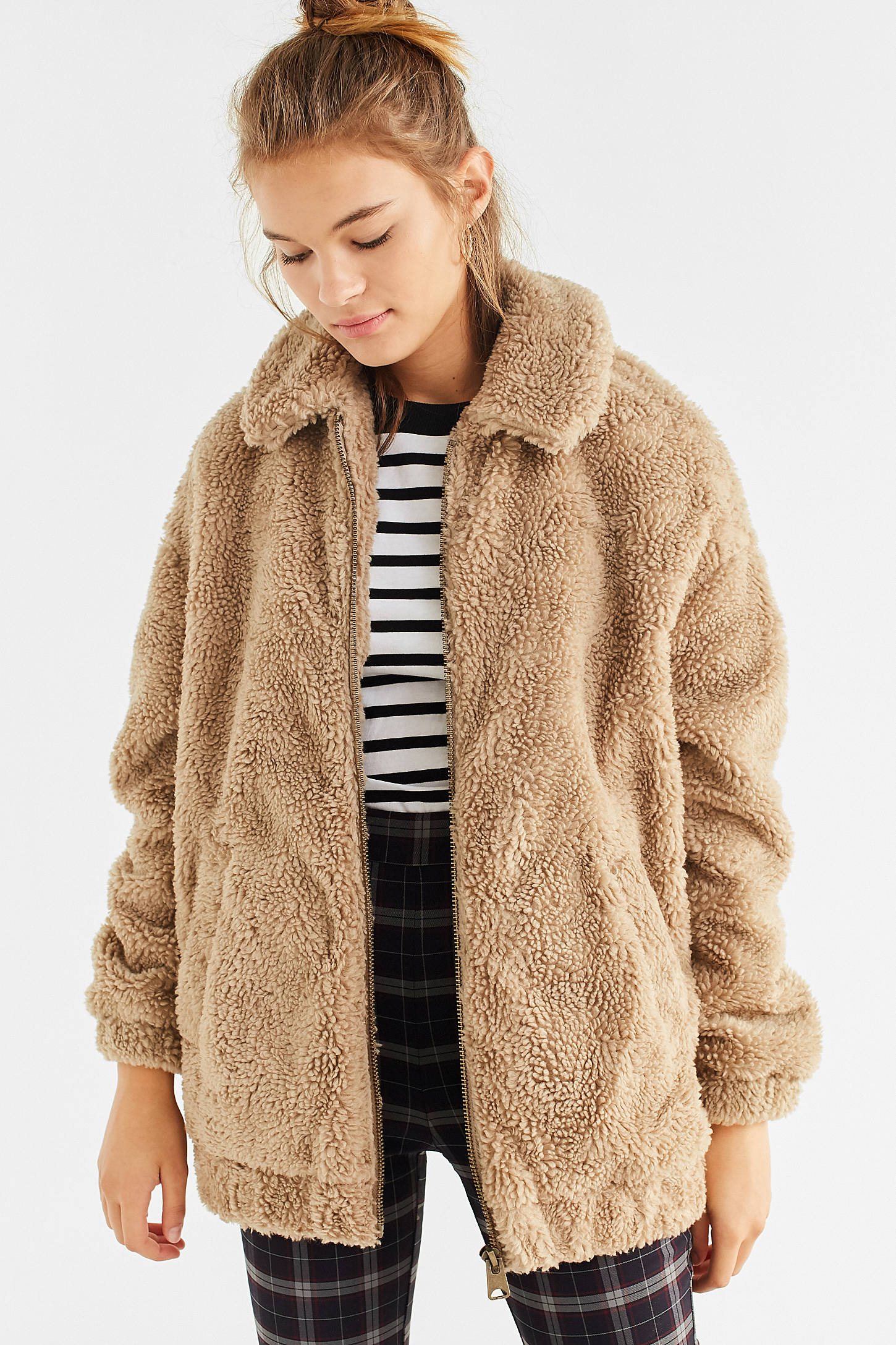 Light Before Dark Oversized Faux Sherpa Zip Up Jacket Urban Outfitters