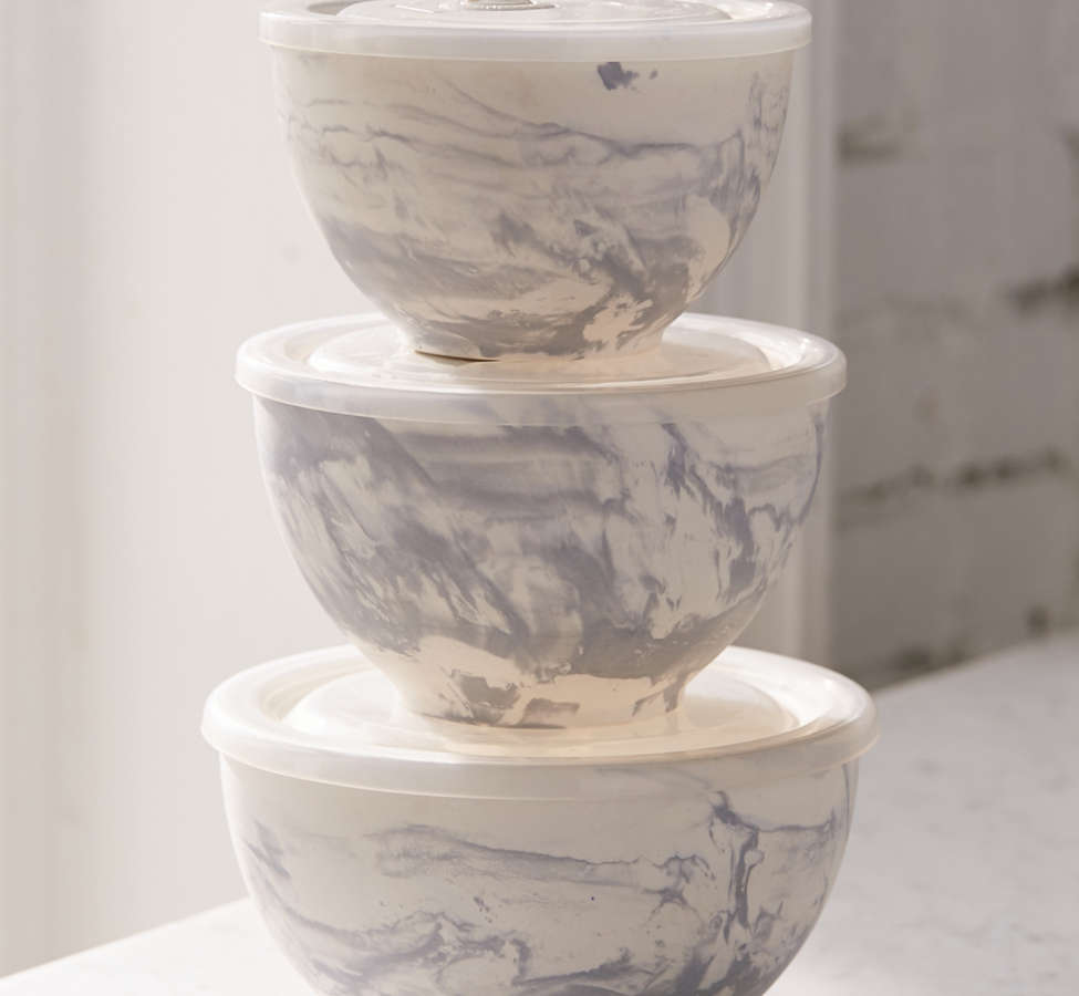 Slide View: 1: Marble Ceramic To-Go Bowl - Set Of 3