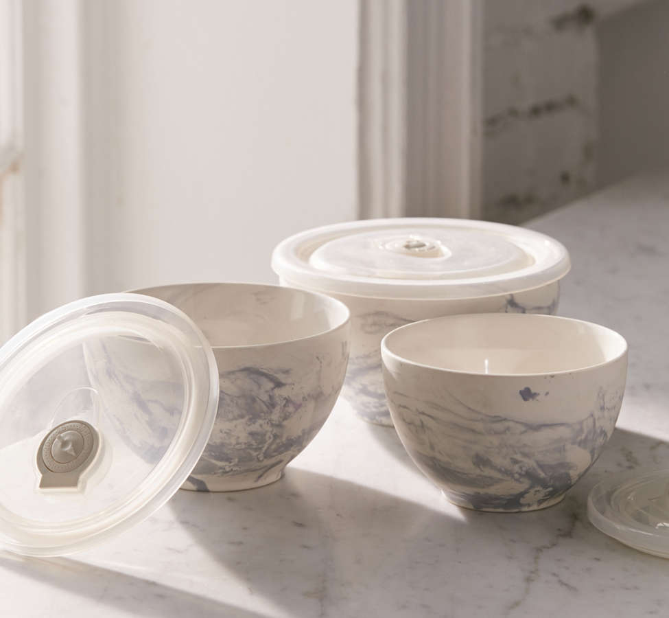 Slide View: 2: Marble Ceramic To-Go Bowl - Set Of 3