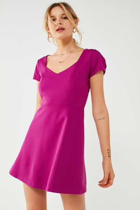UO Maria Short Sleeve Ponte Mini Dress