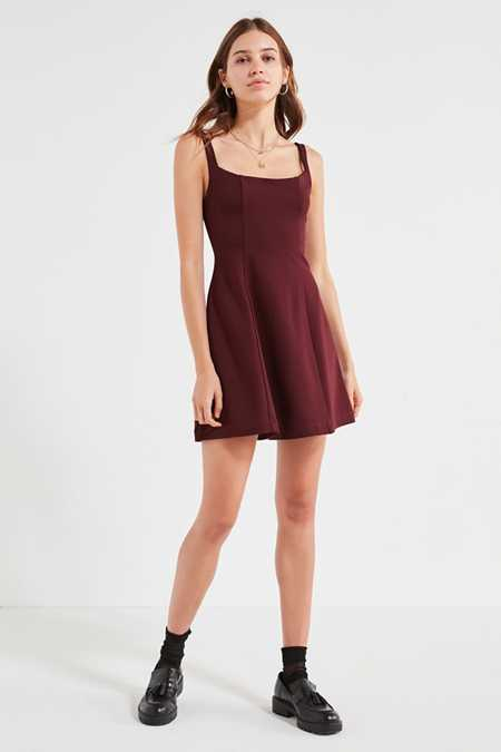 UO Sherrie Square-Neck Fit + Flare Dress
