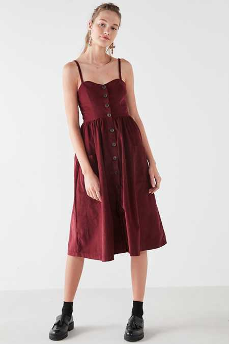 UO Emilia Corduroy Button-Down Midi Dress