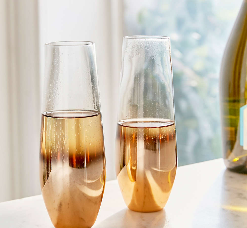 Slide View: 1: Metallic Ombre Stemless Flute Glass - Set Of 2