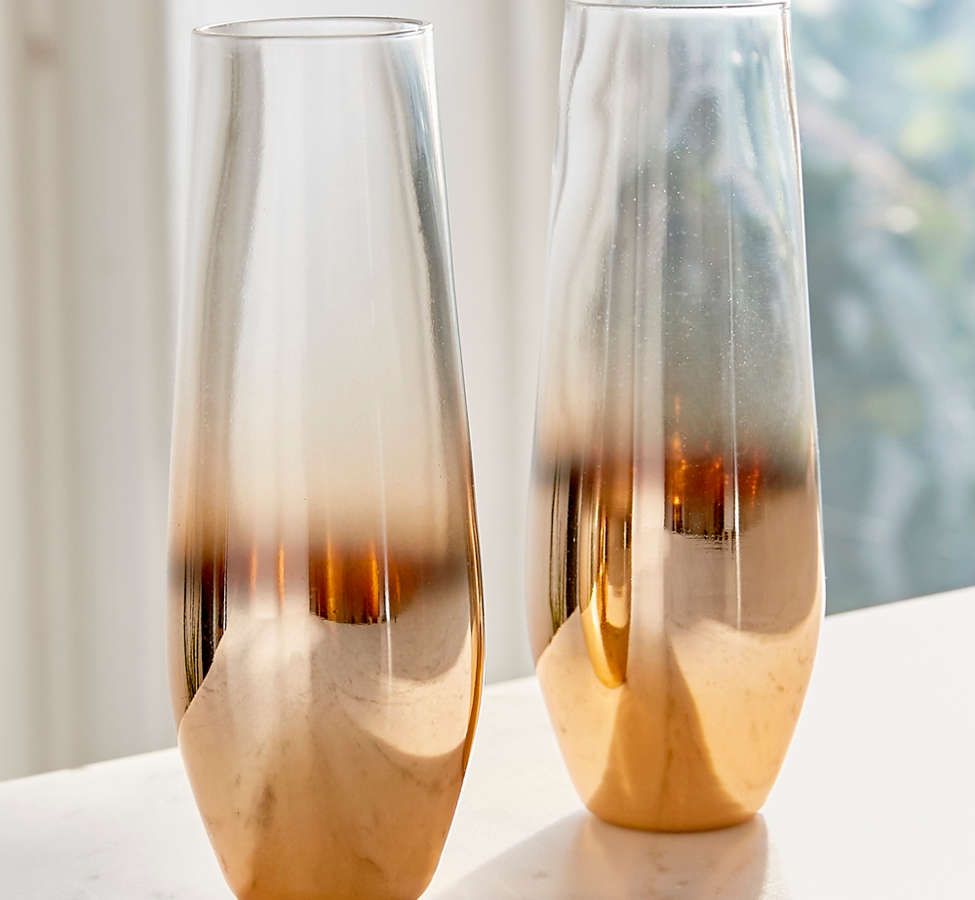 Slide View: 2: Metallic Ombre Stemless Flute Glass - Set Of 2