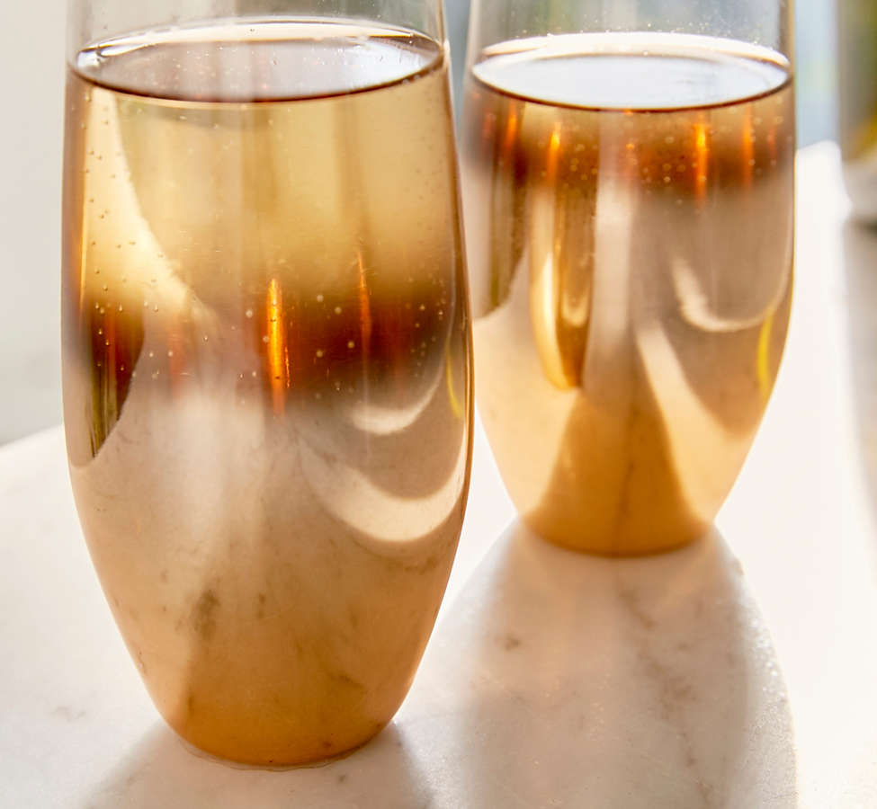 Slide View: 3: Metallic Ombre Stemless Flute Glass - Set Of 2