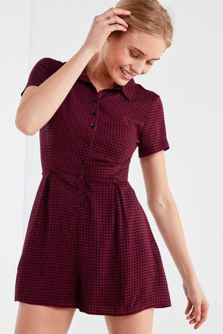 UO Bellina Button-Down Shirt Romper