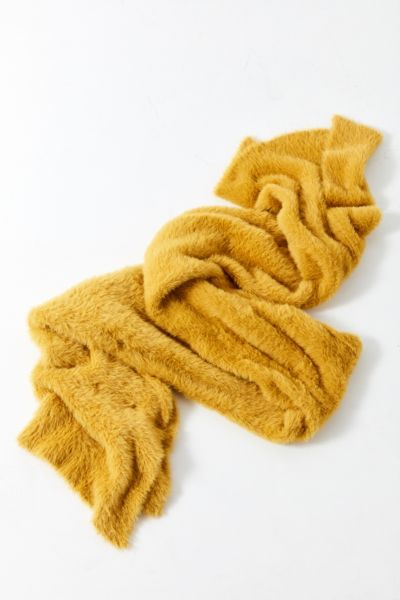 Fuzzy Furry Scarf - Chartreuse One Size at Urban Outfitters