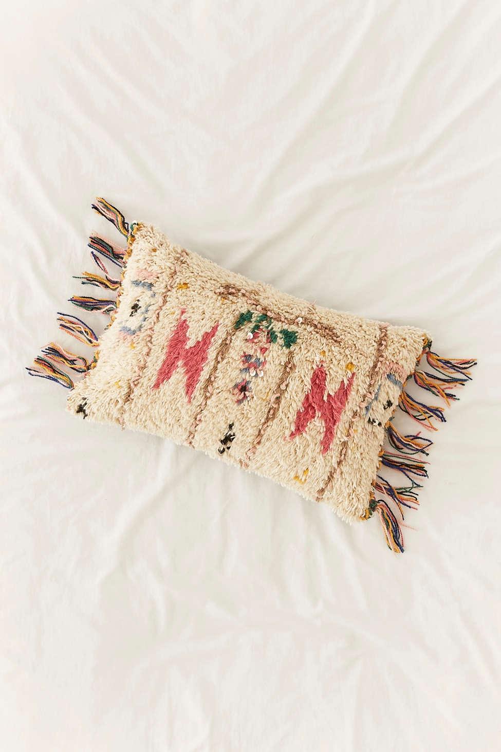 Slide View: 1: Embellished Boucherouite Fringe Pillow