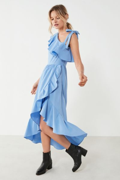 Style Mafia Asymmetrical Ruffle Midi Dress - Sky S at Urban Outfitters