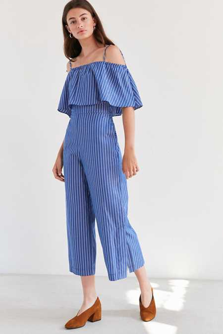 Side Party Hera Ruffle Pinstripe Jumpsuit