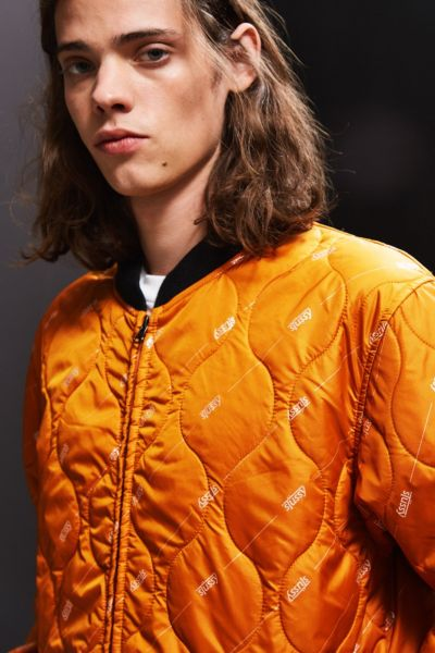 Stussy Quilted Work Jacket - Orange S at Urban Outfitters
